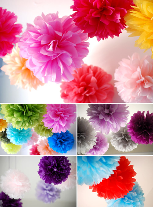 tissue paper wedding pom-pom decor ideas from orange kisses on etsy.com