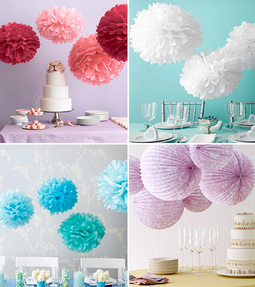 diy tissue paper wedding pom-pom decor ideas from goodthingsweddingfavors.com