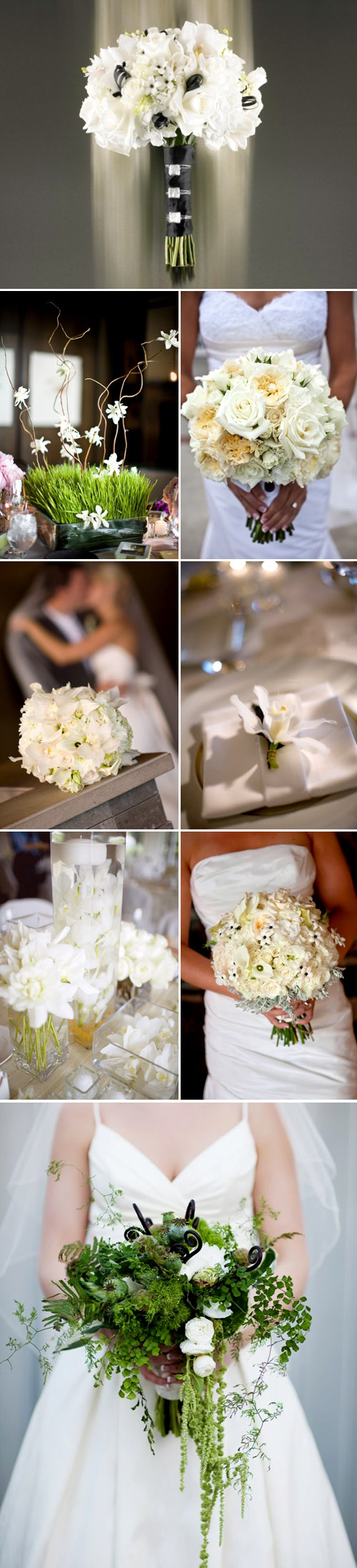 white wedding floral bouquets, centerpieces and decor by Flora Nova Floral and Event Design, images via the Flora Nova website and blog