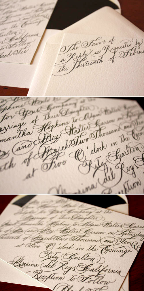 black, white and cream calligraphy wedding invitation design