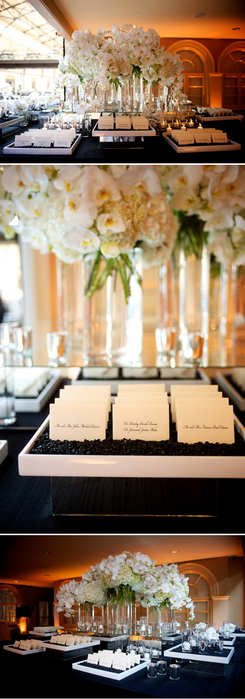 Classic, elegant black and white wedding reception decor at the San Francisco Ferry Buiding, photos by Ashley Garmon Photographers
