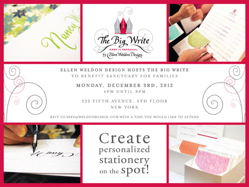 The Big Write custom calligraphy benefit event from Ellen Weldon Design | junebugweddings.com