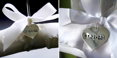 Bridal Hangers with Date Charms From Wedding Hanger Shop | Junebug Weddings