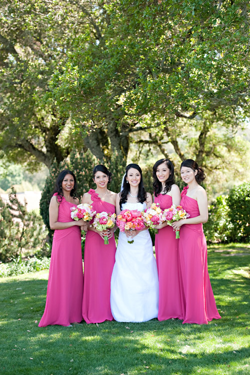 sweet pink vineyard wedding at Thomas Fogarty Winery, photos by Vincent Au Photography via JunebugWeddings.com