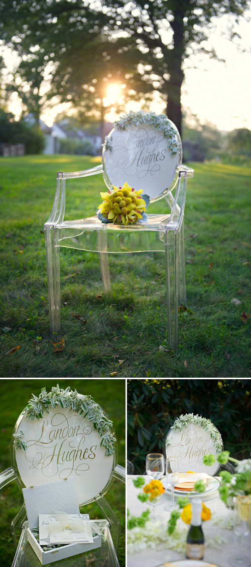 Ghost chairs with calligraphy from Jubilee Events; photos by Carla Ten Eyck | Junebug Weddings