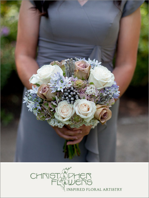 Bridal bouquet by Christopher Flowers of Seattle, WA; photo by Lucas Mobley | junebugweddings.com