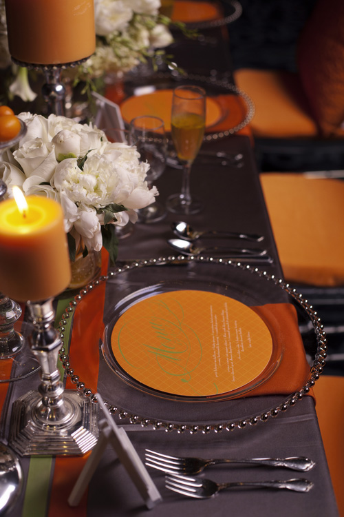 citrus orange and green wedding decor ideas and inspiration from Urbane Montage Events and Cadence Cornelius Photographs |via junebugweddings.com