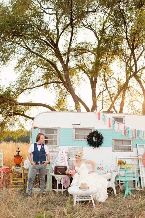 colorful vintage wedding decor rental from Fancy Fray | via junebugweddings.com