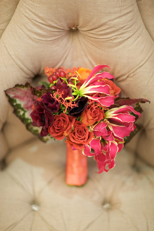 coral, pink and orange floral decor from Eddie Zaratsian of tic-tock Couture Florals, engagement photos at Park Plaza Hotel in LA by Kris Kan