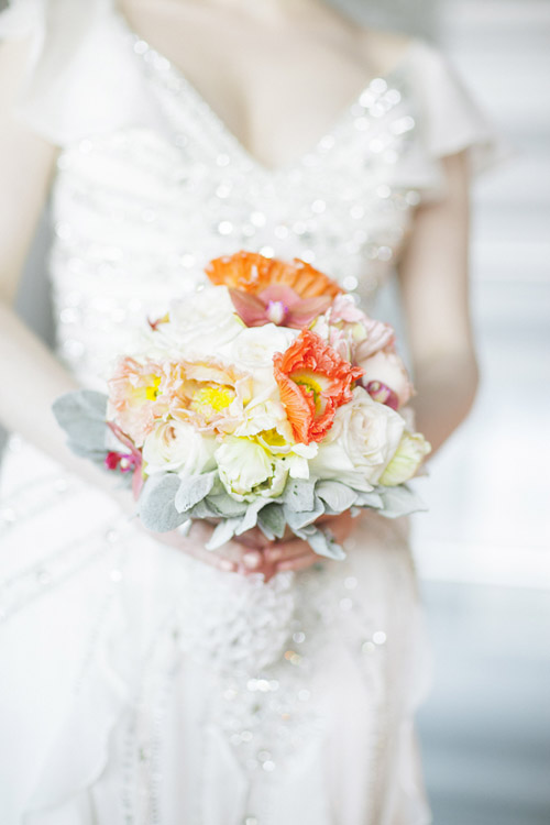 coral and orange chevron wedding decor and color ideas, photos by Tyler James Photography