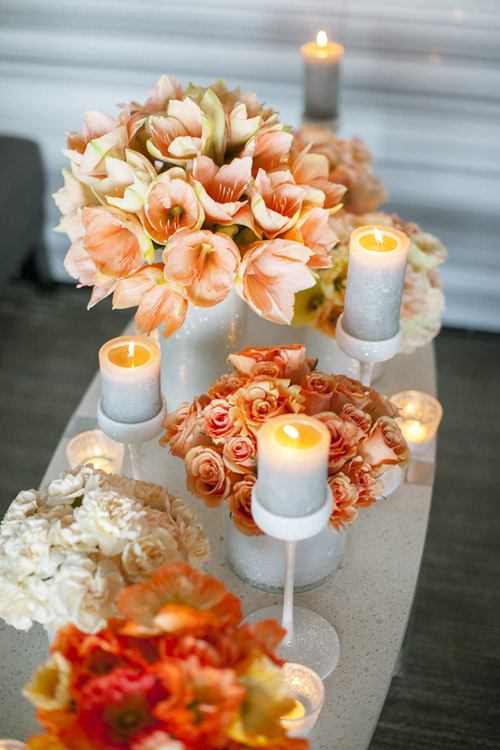 Ideas for Fall Weddings. From color palettes to centerpieces to cakes, get tons of inspiration for an autumn wedding. Ring bearers look sharp in gray suits with orange ties and purple bouts. Photo Credit: Angel Canary Photography. Red and Yellow Bouquet. 50 of Our Favorite Wedding Ideas .