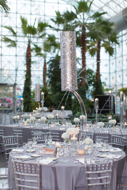 elegant white and crystal wedding at Crystal Gardens with photos by Miller + Miller Photography | junebugweddings.com