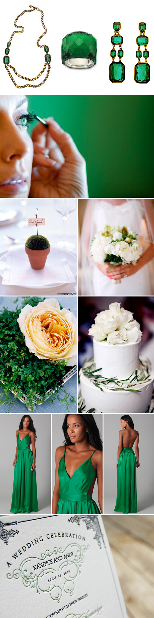 emerald green wedding color ideas and inspiration, green wedding decor, fashion and jewelry
