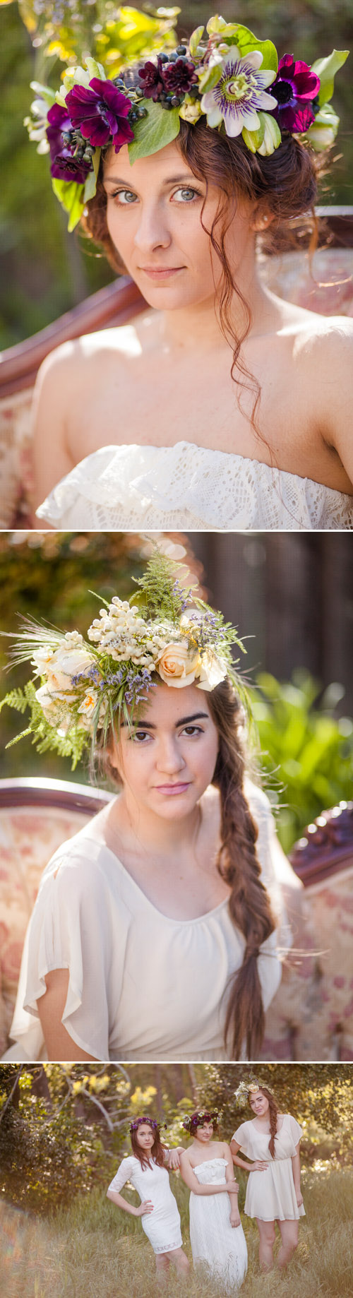 Floral head wreaths by Twigss Floral Studio - Photos by Danielle Capito Photography via Junebug Weddings