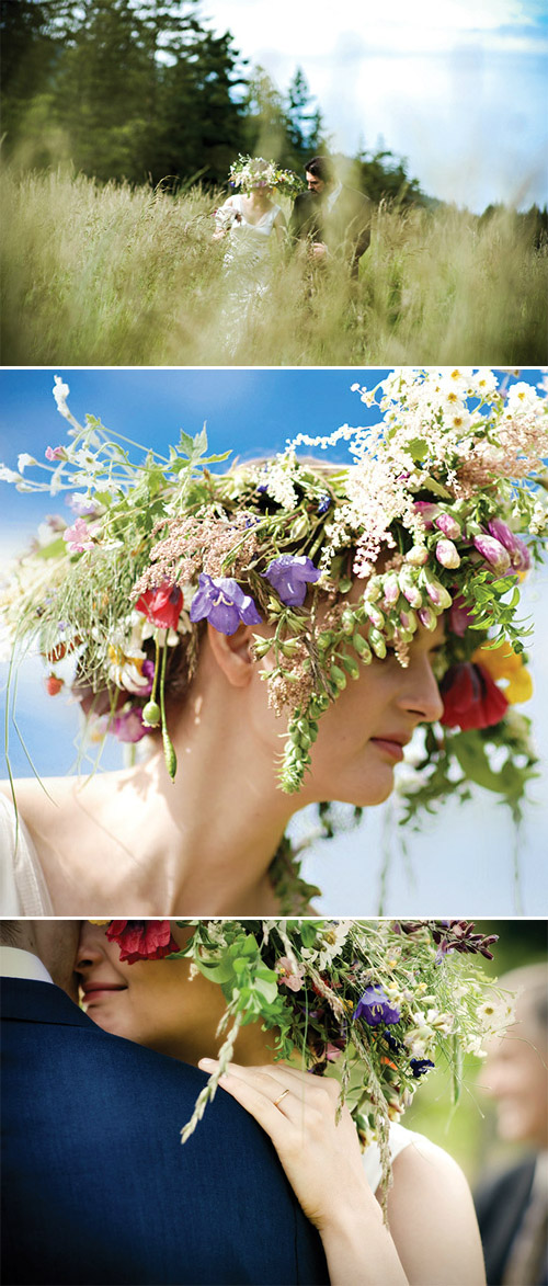 Flower crown of summer wildflowers - Photos by Michele Waite Photography via Junebug Weddings