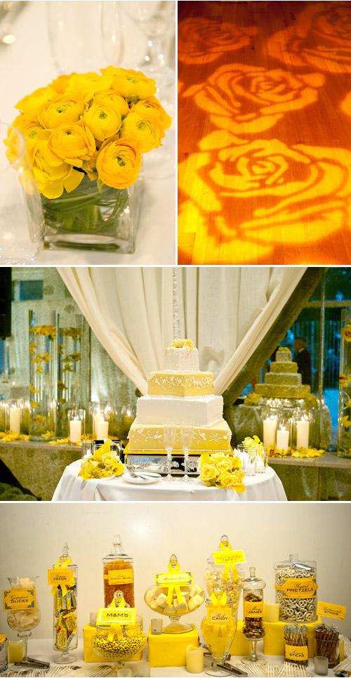 yellow dessert buffet at Legion of Honor, wedding photo by Tia Claire Studio