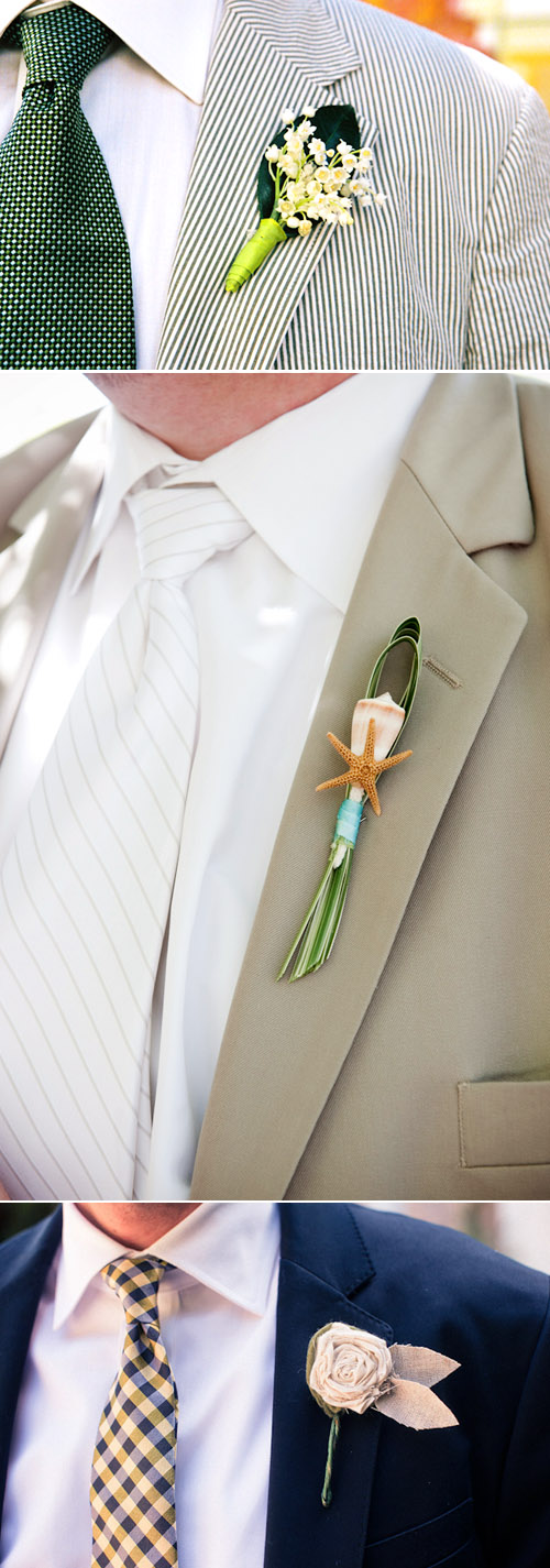 creative seashell, fabric flower and lily of the valley groom's wedding boutonnieres