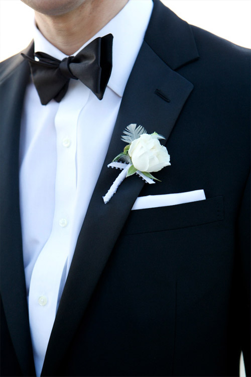 Creative and classic grooms boutonniere ideas junebug weddings classic white grooms wedding boutonniere on a tuxedo photo by karen hill photography junglespirit Images