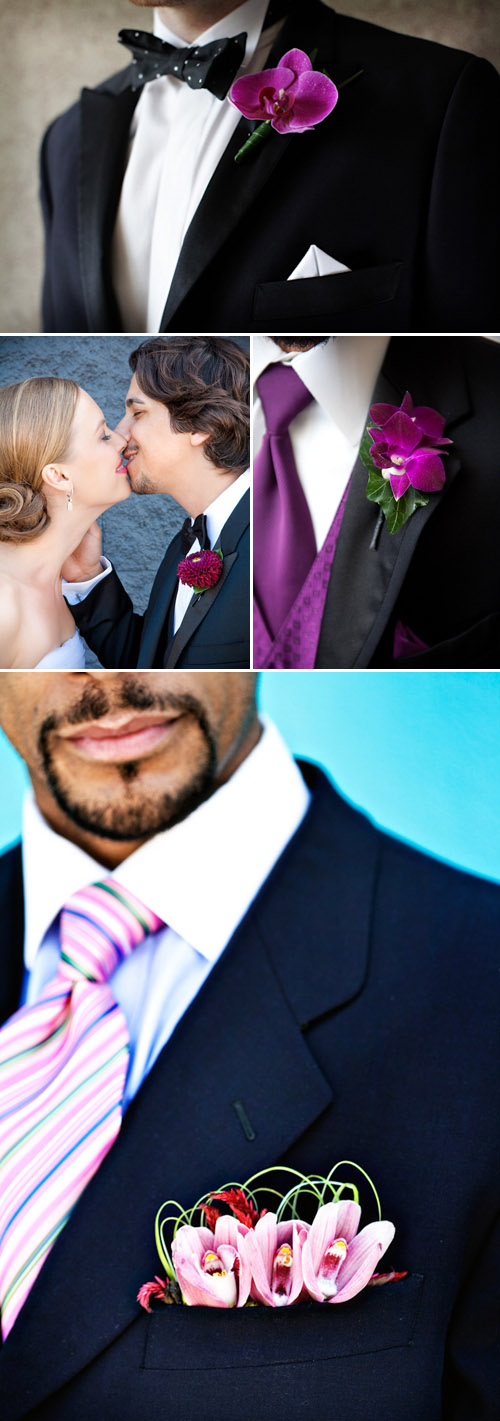 elegant pink purple and fuchsia groom's wedding boutonnieres