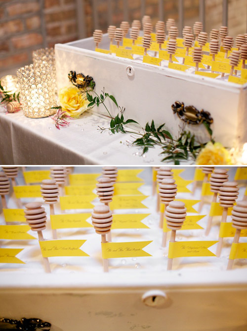 Honey Bee Wedding Decor by Greatest Expectations, photos by Simply Jessie Photography | Junebug Weddings