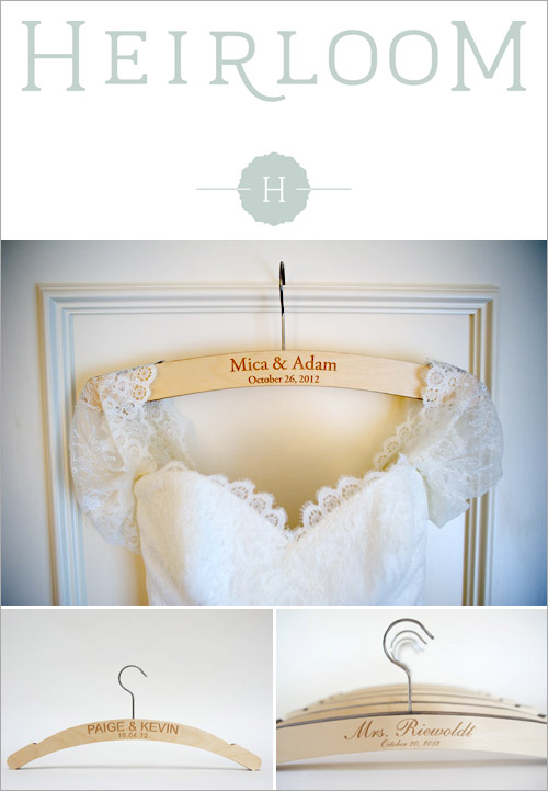 Custom Wedding Dress Hanger from Heirloom in the junebugweddings.com Holiday Bridal Fashion Giveaway!