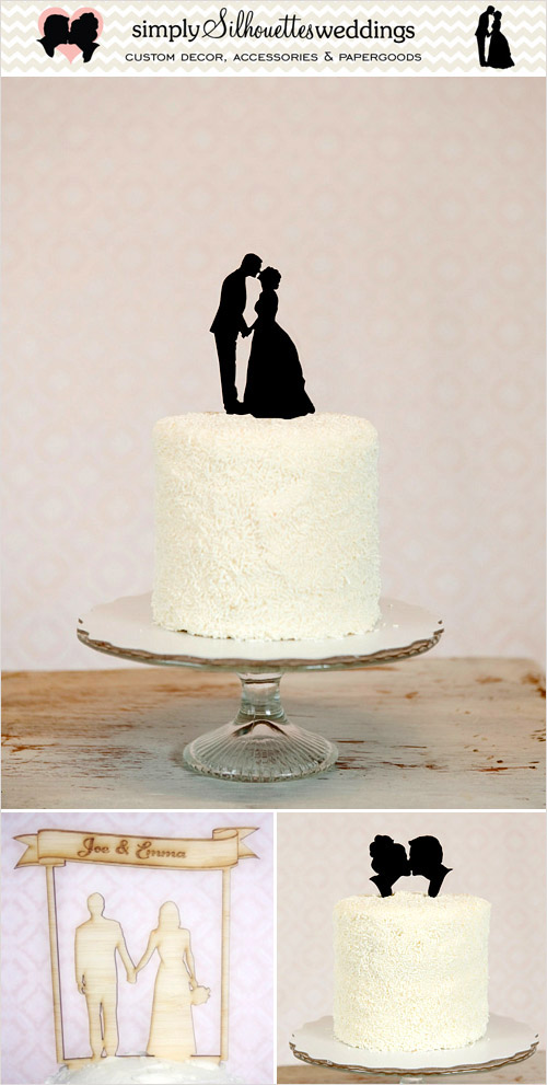 Cake Toppers from Simply Silhouettes in the junebugweddings.com Holiday Wedding Décor Giveaway! | junebugweddings.com