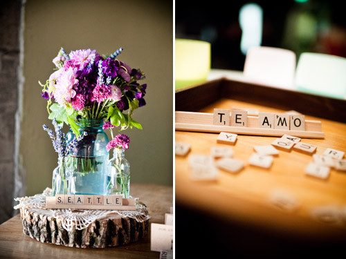 Scrabble Wedding Decor by Holly-Kate & Co., photos by Laurel McConnell Photography | Junebug Weddings
