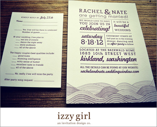 Wedding invitation from Seattle invitation designer Janet Maples of Izzy Girl | junebugweddings.com