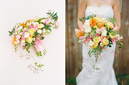 Bridal Bouquet of Spring Flowers by Janie Medley, Photo by Amelia Johnson