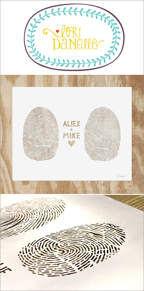Junebug Weddings Holiday Giveaway Week - Lori Danelle Lasercut Fingerprints| junebugweddings.com