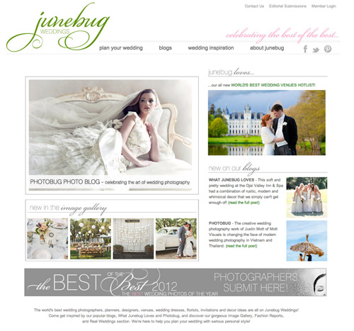 Junebug Weddings homepage redesign 2012
