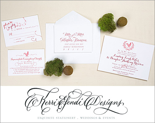 Elegant country-inspired red wedding invitation from Kerri Efendi Designs | junebugweddings.com
