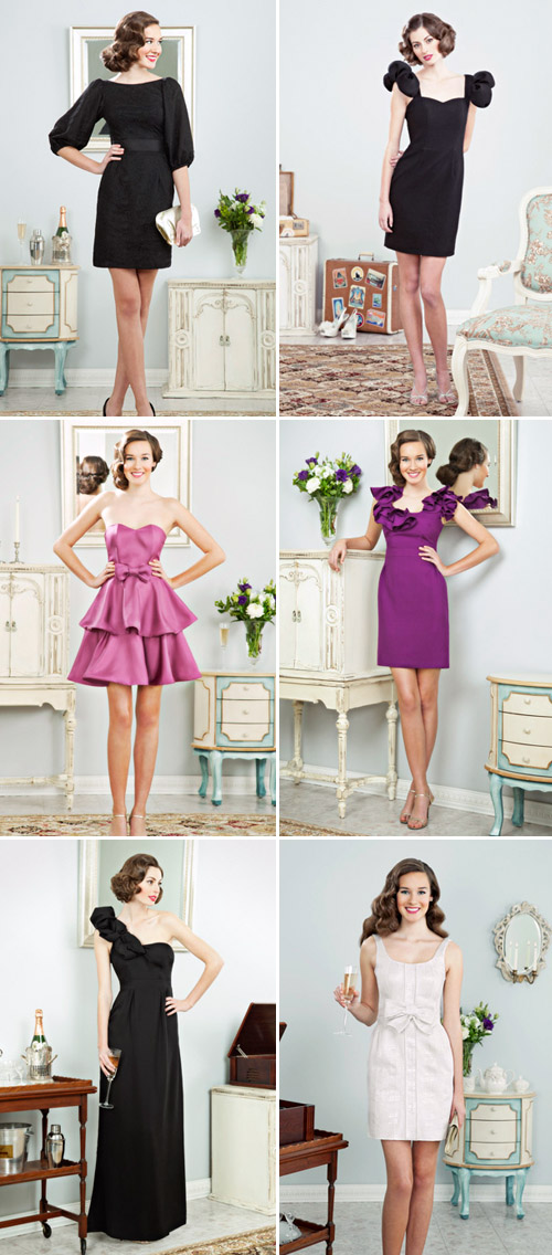 short, alternative wedding dresses and stylish, colorful, ruffled bridesmaids dresses from Kirribilla