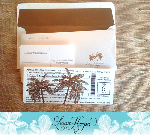 Boarding pass wedding invitation from Laura Hooper Calligraphy | junebugweddings.com