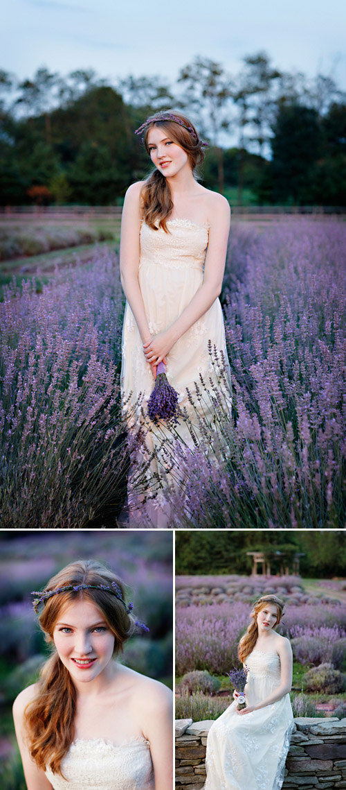 lavender wedding fashion inspiration and bridal bouquets, wedding dresses by Clair Pettibone, photos by Marie Labbancz Photography