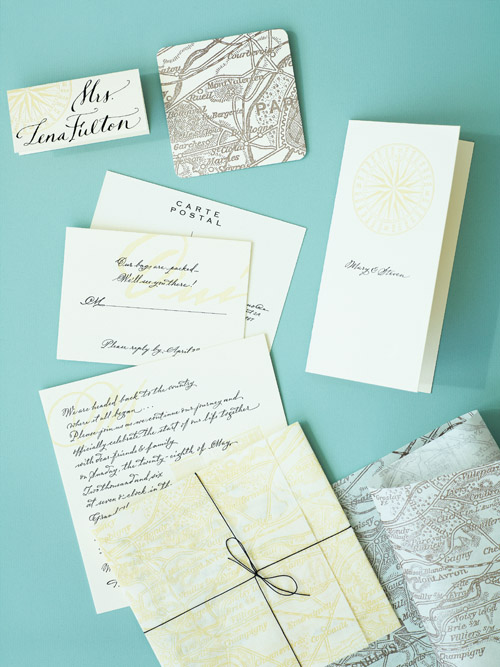 wedding ideas from Matthew Robbins Inspired Weddings book, turquoise, green and pink wedding decor inspired by a world map