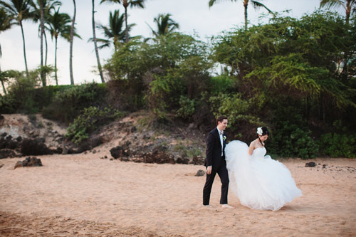 Pretty, classic, pink wedding in Maui from Sweet Pea Events with photos by Sarah & Rocky Photography | via junebugweddings.com