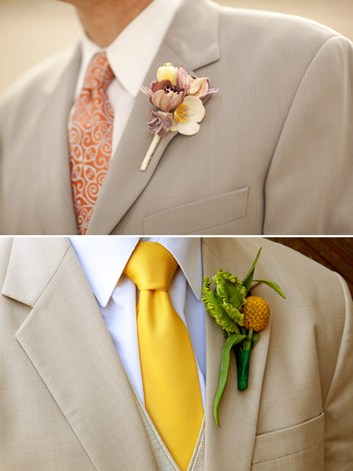 Boutonnieres with Summer Suits - photos by Allyson Magda and La Vie Photography | Junebug Weddings