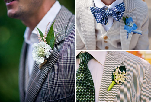 Boutonnieres with Patterned Suits - Photos by Tracey Buyce, Yvette Roman, and Jeremy Harwell | Junebug Weddings