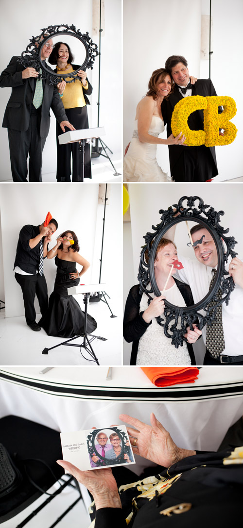 bright black, white, orange and yellow modern NYC loft wedding, photos by Image Singuliere via JunebugWeddings.com
