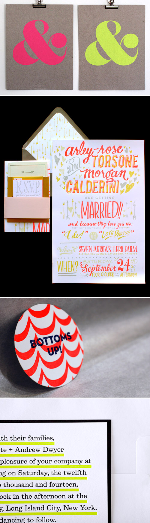 neon wedding invitations and decor