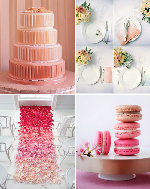 ombre wedding decor ideas in shades of pink and peach