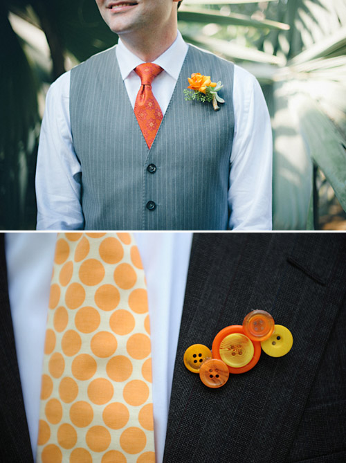 Orange Boutonnieres - Photos by Jillian Mitchell and Kenny Nakai | Junebug Weddings
