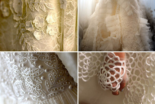 oscar de la renta wedding lace details, photos by rachel scroggins