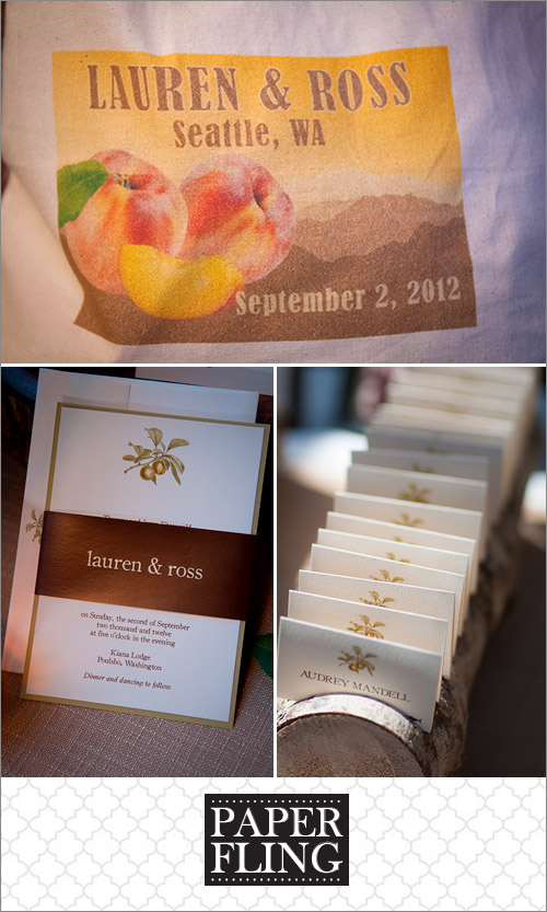 Vintage peaches rustic wedding invitation by Paper Fling, photos by Bradley Hanson | junebugweddings.com