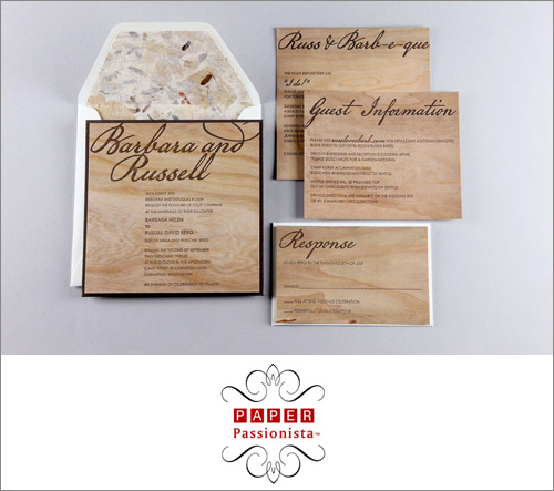 Cherry wood wedding invitations byCherry wood wedding invitations by Paper Passionista and Real Card Studio, Photo by Real Card Studio Paper Passionista and Real Card Studio, Photo by Real Card Studio | junebugweddings.com
