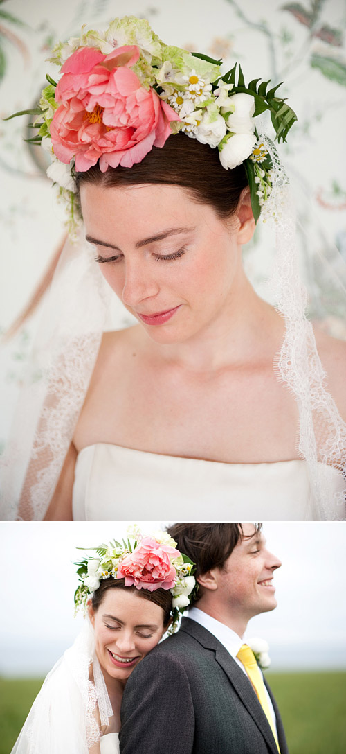 Flower crown of pink peony by George Mackay - Photos by Dominique Bader via Junebug Weddings
