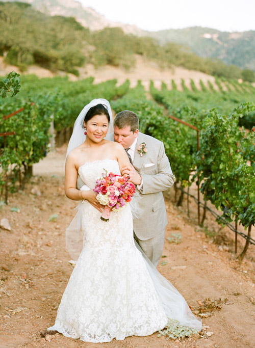 Napa wedding at Solage Calistoga with a blue, coral orange, and fuchsia pink wedding color palette | via junebugweddings.com