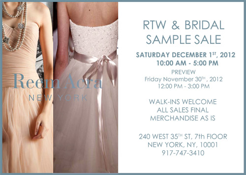 Reem Acra RTW & Bridal Sample Sale | junebugweddings.com