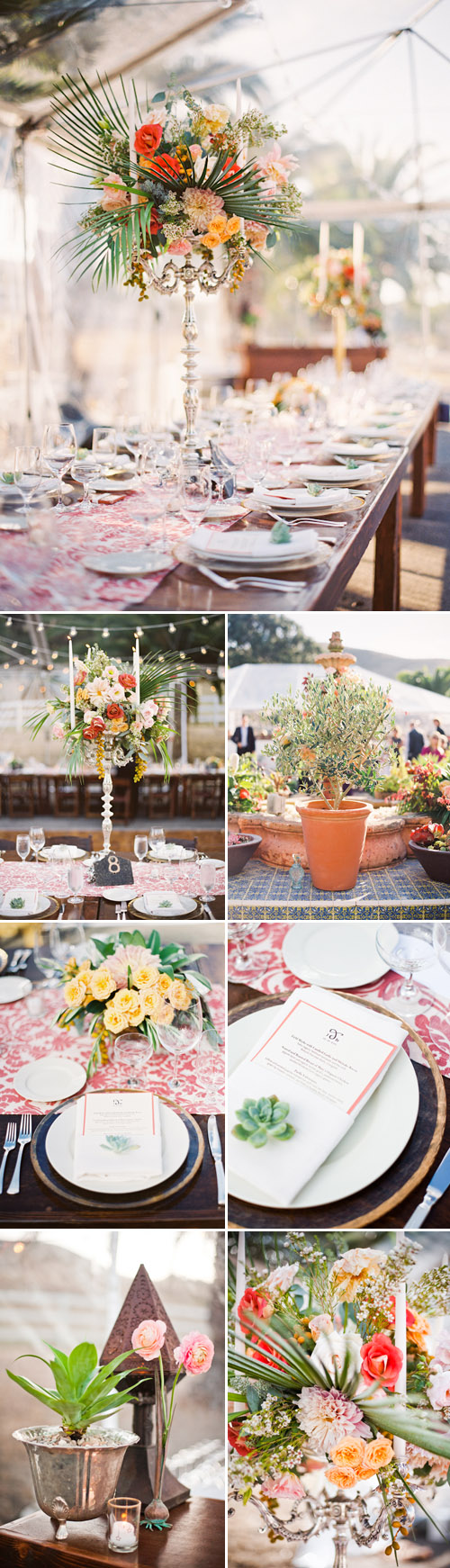 Wedding floral tabletop design with succulents, Spanish old-california wedding decor at La Familia Ranch in San Luis Obispo, CA